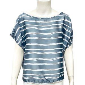 ADORO | Women's Cropped Silky Striped Blouse L